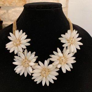 White Gold Flower Statement Necklace